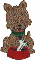 1 5/8'' by 2 3/4'' Dog With Bone Iron On Applique1 5/8'' by 2 3/4'' Dog With Bone Iron On Applique