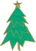 5 1/4'' by 3 5/8'' Iron On Christmas Tree Applique5 1/4'' by 3 5/8'' Iron On Christmas Tree Applique