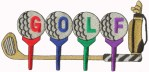 4'' by 8 1/4'' Iron On Metallic Golf Applique4'' by 8 1/4'' Iron On Metallic Golf Applique