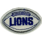 2 3/4'' by 1 3/4'' Lions Football Patch - 2 Colors2 3/4'' by 1 3/4'' Lions Football Patch - 2 Colors