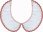 White with Red Scalloped Edge Collar Set (Left/Right) - 3 SizesWhite with Red Scalloped Edge Collar Set (Left/Right) - 3 Sizes