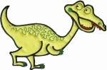 6'' by 4 1/2'' Iron On Yellow/Green Dinosaur Applique6'' by 4 1/2'' Iron On Yellow/Green Dinosaur Applique