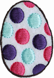 2 1/8'' by 1 1/2'' Polka Dot Easter Egg Iron On Applique2 1/8'' by 1 1/2'' Polka Dot Easter Egg Iron On Applique