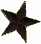 2'' - 5.1 cm - Star with Gold Edge Applique - Black2'' - 5.1 cm - Star with Gold Edge Applique - Black
