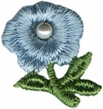 11/16'' by 7/8'' Embroidered Flower with Pearl - Light Blue, Blue11/16'' by 7/8'' Embroidered Flower with Pearl - Light Blue, Blue