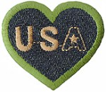 2 1/4'' by 2'' USA Denim Heart Iron On Applique2 1/4'' by 2'' USA Denim Heart Iron On Applique