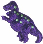 5 3/4'' by 5 5/8'' Beaded & Sequined Purple Dinosaur Applique5 3/4'' by 5 5/8'' Beaded & Sequined Purple Dinosaur Applique