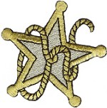 2 3/8'' by 2 1/4'' Star Applique - Gold, Silver2 3/8'' by 2 1/4'' Star Applique - Gold, Silver