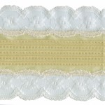 3 1/2'' Golden Beige Pleated Tricot with White Lace3 1/2'' Golden Beige Pleated Tricot with White Lace