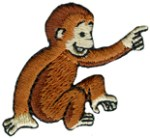 1 1/2'' by 1 1/4'' Curious George Iron On Applique1 1/2'' by 1 1/4'' Curious George Iron On Applique