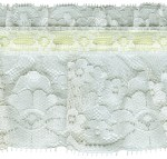 4 1/2'' Eggshell Gathered Lace with Yellow Ribbon4 1/2'' Eggshell Gathered Lace with Yellow Ribbon