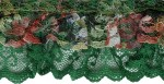 1 3/4'' Green/Floral Gathered Double Ruffled Lace1 3/4'' Green/Floral Gathered Double Ruffled Lace