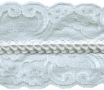 3 1/2'' White Lace with Pleated Ribbon Center3 1/2'' White Lace with Pleated Ribbon Center