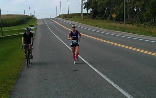 My coach pacing me at my August marathon