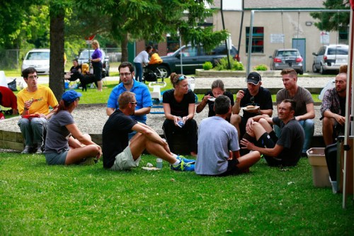 Spending some time discussing the week of racing with my team after the marathon.