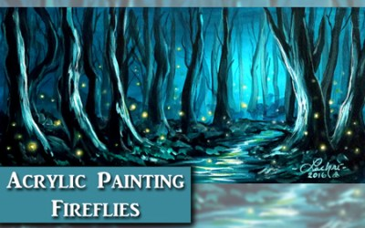 Acrylic Forest and Firefly Painting Tutorial