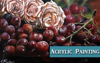 Grapes & Roses Acrylic Tutorial