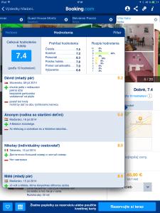 Booking - hodnotenia návštevníkov hotela