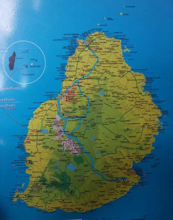Mapa de isla Mauricio