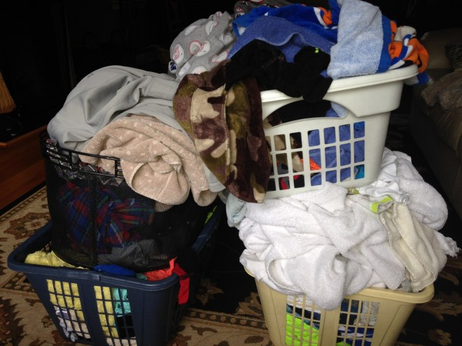 So I direct them to the baskets of clean laundry that I haven't folded yet.....