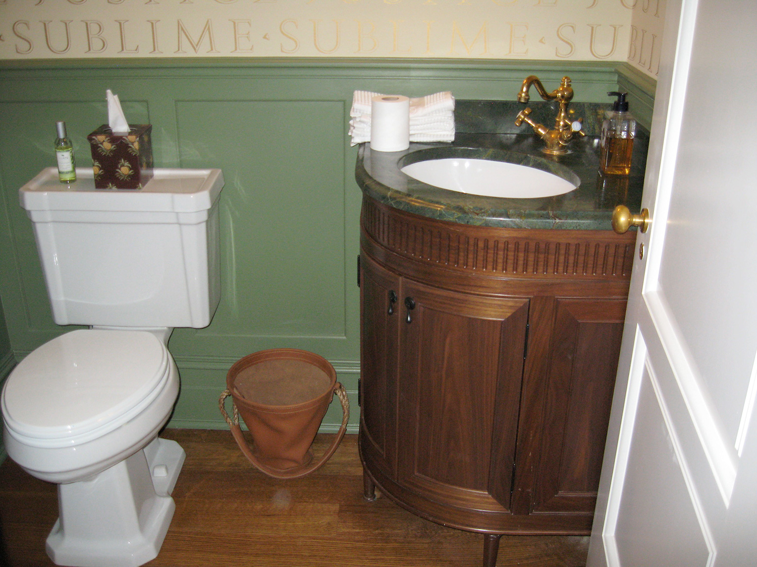 The Black Walnut round vanity Installed. Hillsdale, NY.