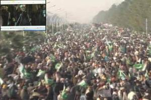 Tahir ul Qadri addressing Participants of sit-inn in islamabad