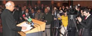 Pakistan High Commissioner for UK Mr Wajid Shamsul Hasan addressing at the