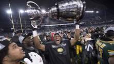 Prime Minister, Justin Trudeau greets Edmonton Eskimos on winning the 103rd Grey Cup