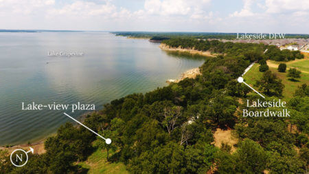 Aerial showing the approximate location of the plaza and its relationship to the Lakeside Boardwalk.