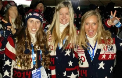 The South Lake Tahoe community will honor its three Olympic athletes in a city-wide celebration, Saturday, March 15. Pictured (L-R) are Olympians Maddie Bowman, Hannah Teter, and Jamie Anderson. Credit: Sierra-at-Tahoe Resort