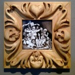 Brushed ink & pyrography, 6 x 6 in. (in 12.25 x 12.25 in. hand carved frame) $550.00 Sold
