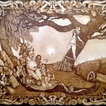 Brushed ink & pyrography, 24 x 18 in. $1,800.00