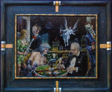 Oil on masonite in frame constructed by the artist, 11.5 x 9.75 in. (17 x 14 in. with frame), $475.00 Sold