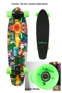 skate deck with custom wheels, 8.75 x 34 in. $190 with wheels, $150 without wheels