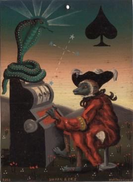 Matthew Couper - Snake EyesOil on metal, 5 x 7 in. (12 14 in. framed), $650