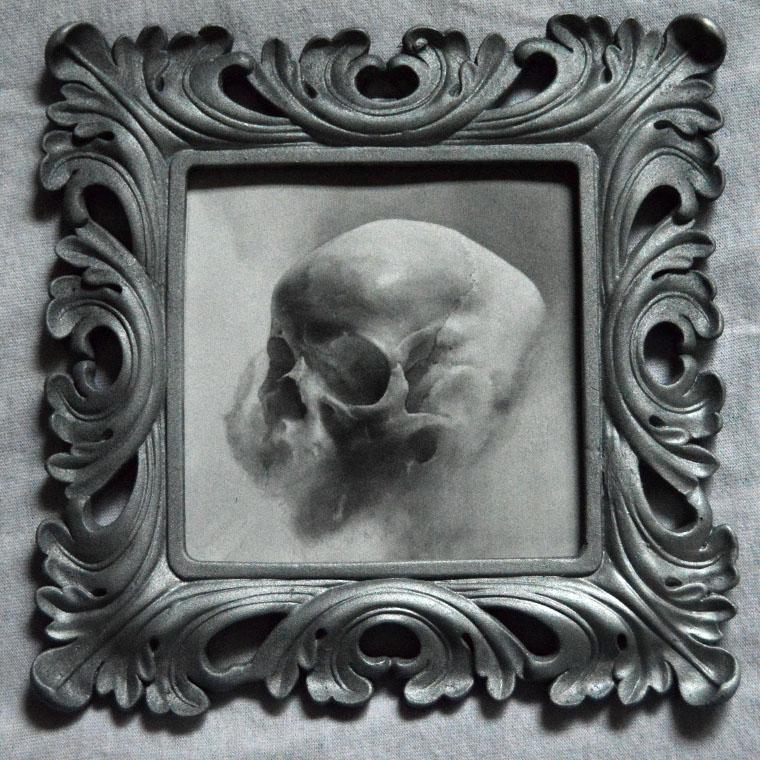 """Adrian Cherry - WordlessGraphite on bristol paper, 5x5"""" (7.5x7.5"""" framed) $175"""