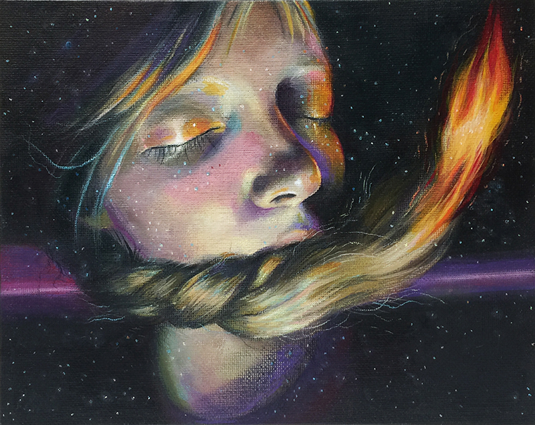 "Jel Ena - GravityWax pastel and acrylic on canvas board, 8x10"" (11x13"" framed) $350"