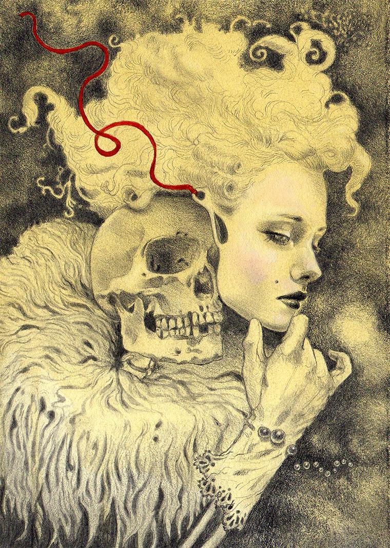 """Jel Ena - La Calavera CatrinaGraphite, color pencil, watercolor on hand-toned Fabriano paper, 5x7"""" (8x10"""" framed) $350"""