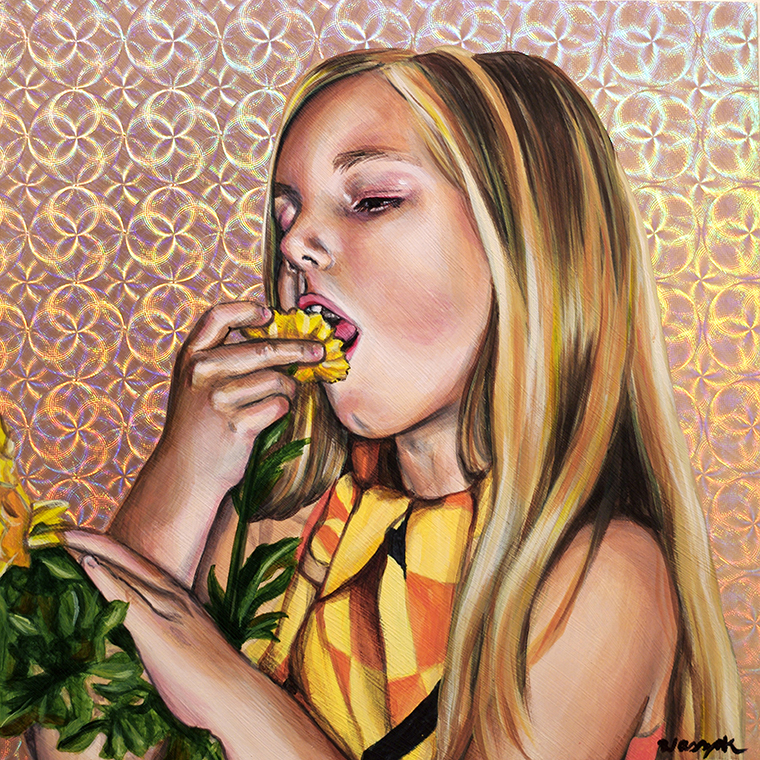 "Nicole Waszak - Garden of Delight Part 3Acrylic on holographic paper on wood panel, 8x8"", $300"