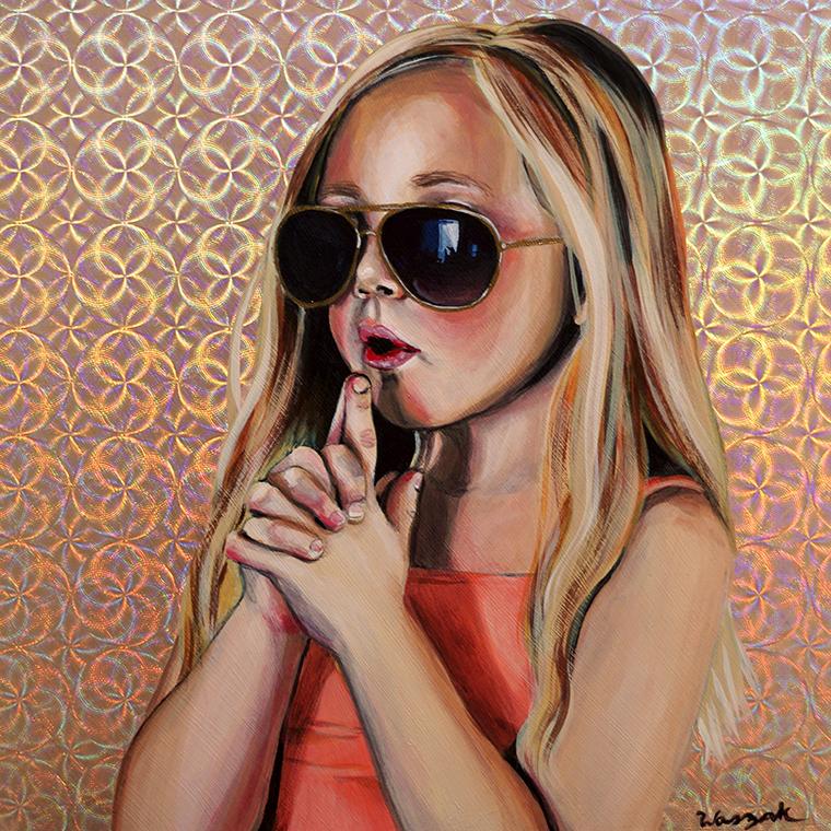 """Nicole Waszak - SharpshooterAcrylic on holographic paper on wood panel, 8x8"""", $300"""