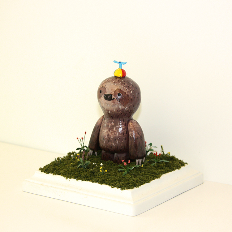 "Sadie Han - SlothSculpy, acrylic, etc. 4.5x4.5x5"", $300"