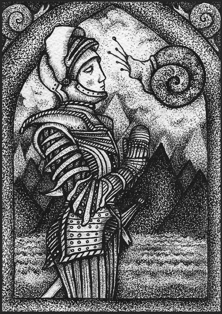 """Maya Peterpaul - Pilgrimage 5Ink on paper, 4.25x6.25"""", $100"""