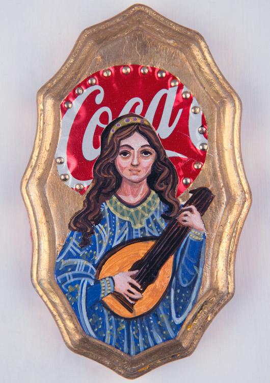 "Kimberly Zsebe - St. CeciliaEgg tempera, Coca Cola can on board, 3.5x5"" $200"