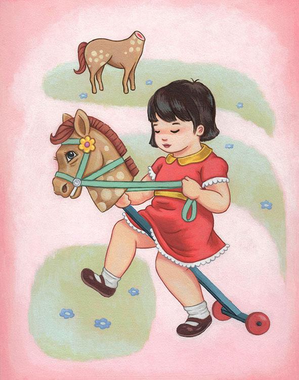 "Ming Ong - HorsieAcrylic on illustration board, 6.5x8.5"" (16x13"" framed), $325"