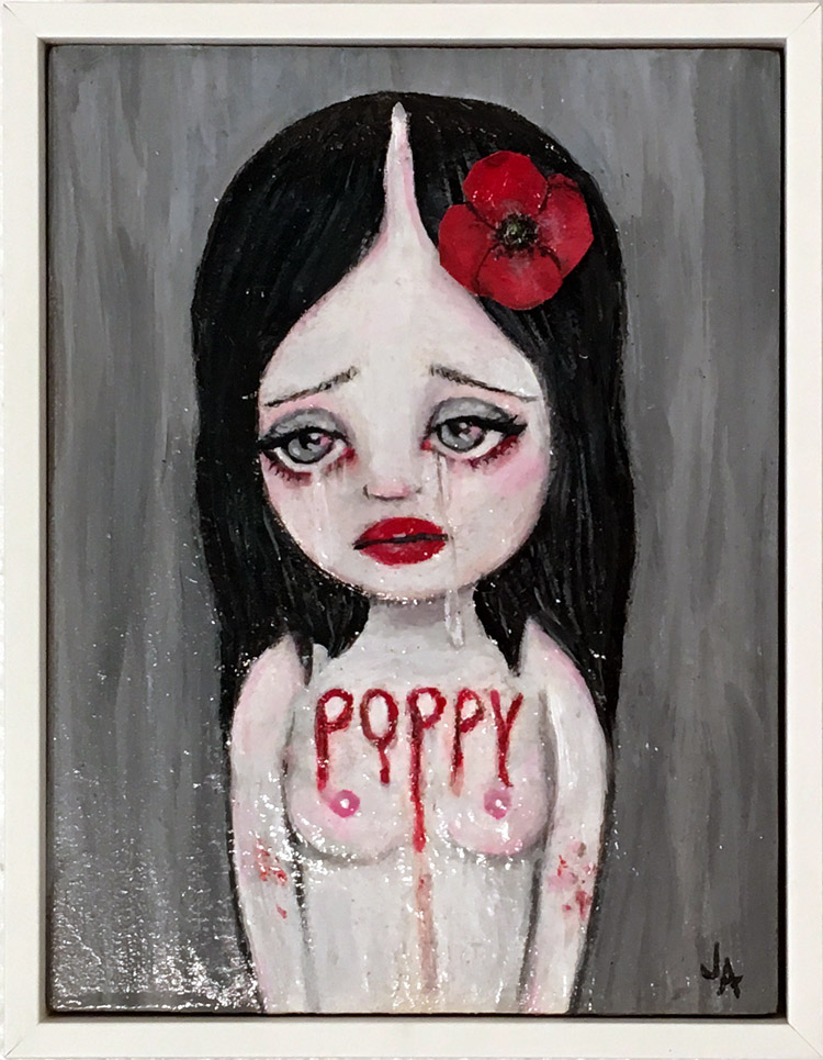 "Jessicka Addams - Poppy Acrylic and mixed media on panel, 6.75x8.75x1.25"", $600 Sold​"