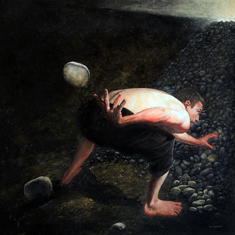 """Mark Gleason - Absurde Oil on canvas, 30x30"""" framed, $4,500"""