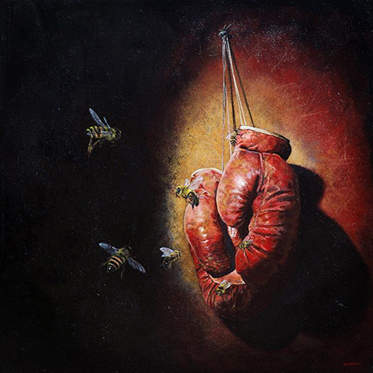 """Mark Gleason - Blood and Honey Oil on canvas, 22x22"""" framed, $2,500"""