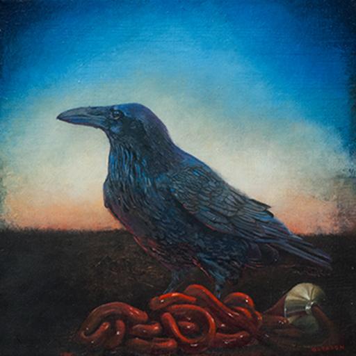 "Mark Gleason - Raven Oil on canvas, 12x12"" framed, $1,000"