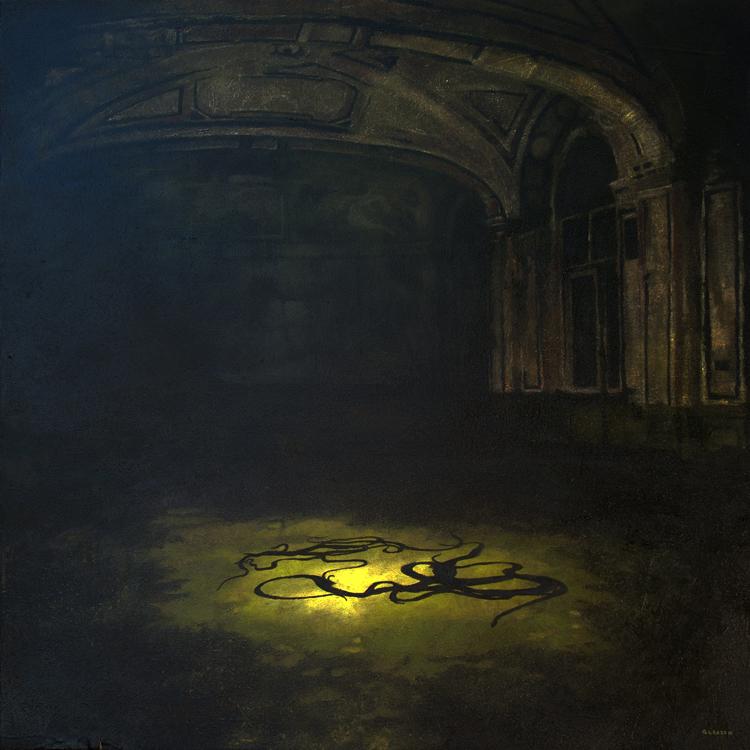 """Mark Gleason - Sea Serpents Oil on canvas, 22x22"""" framed, $1,500"""