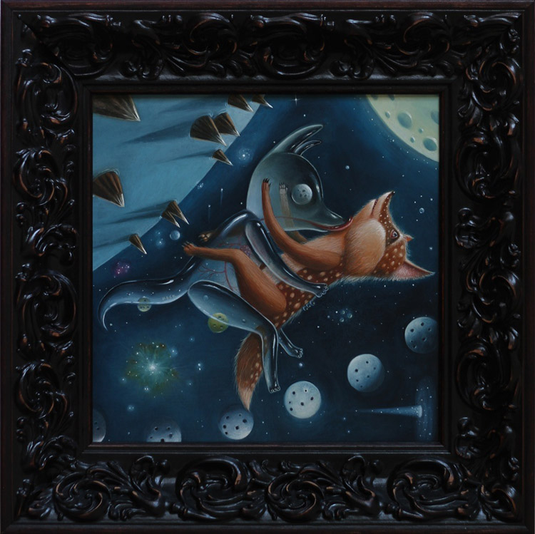 "Peca  - Peace Activists (Moons)Oil on woodenboard, 12x12"" (18x18"" framed) $1500"